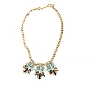 J.Crew Green Clear Gold Tone Statement Necklace
